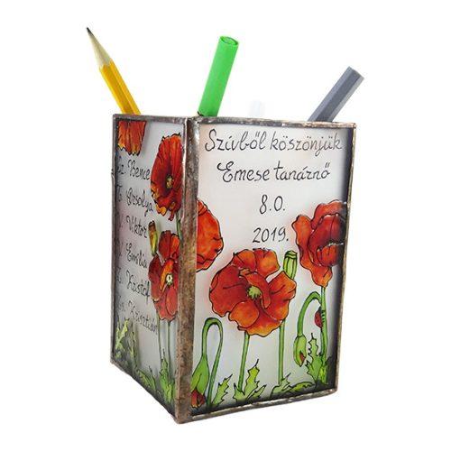 Pipacsos ceruzatartó az általad kért szöveggel