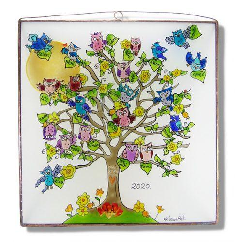 Baum des Lebens mit Eulen und mit Spitznamen