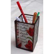 Tulipános ceruzatartó az általad kért szöveggel