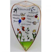 Ballagási ajándék szív alakú üvegkép óvónéninek