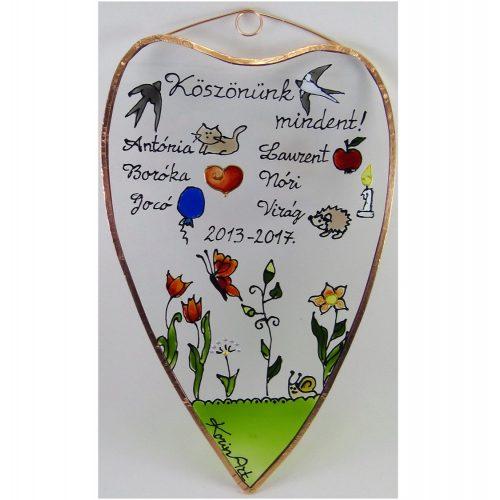 Abschiedsgeschenk Herzform Glasbild für Kindergärtnerinnen