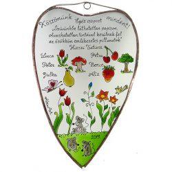 Ballagási ajándék szív alakú üvegkép óvónéninek - Egér csoport