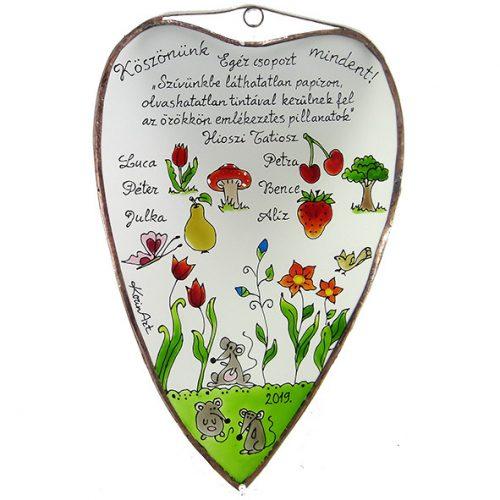 Abschiedsgeschenk Herzform Glasbild für Kindergärtnerinnen - Mausgruppe