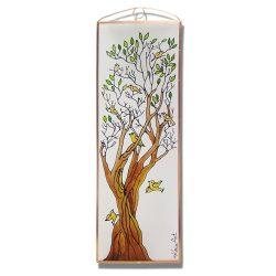 Életfa összefonódó ágakkal üvegkép, üvegfestmény