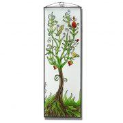 Baum des Lebens mit Vögeln Glasbild, Glasmalerei