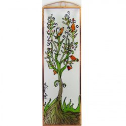 Életfa madarakkal  üvegkép, üvegfestmény