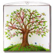 Virágzó életfa üvegkép, üvegfestmény