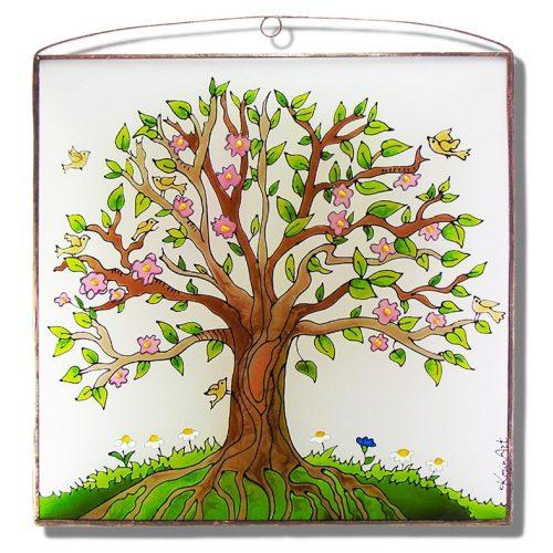 Blühender Baum des Lebens Glasbild, Glasmalerei