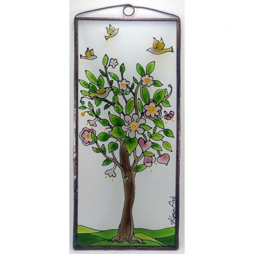 Virágzó életfa 2 üvegkép, üvegfestmény