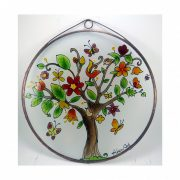 Fröhlicher Baum des Lebens Glasbild, Glasmalerei
