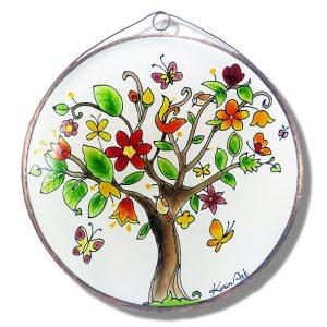 Vidám életfa üvegkép, üvegfestmény