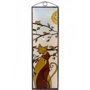 Cicák madarakkal üvegkép, üvegfestmény