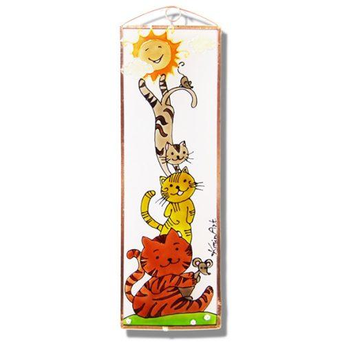 Macskák üvegkép, üvegfestmény