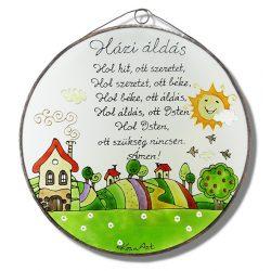 Dimbes-dombos Házi áldás - üvegkép, üvegfestmény
