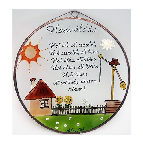 Gémeskutas Házi áldás - üvegkép, üvegfestmény