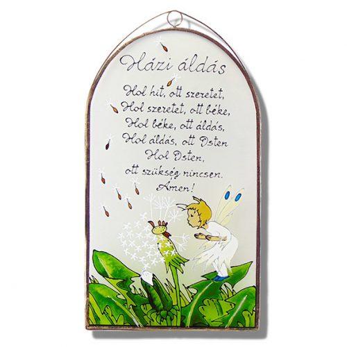 Pitypangos tündéres Házi áldás - üvegkép, üvegfestmény