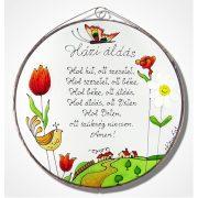 Tulipános Házi áldás - üvegkép, üvegfestmény