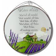 Lavendellandschaft Göttlicher Haussegen - Glasbilder, Glasmalerei