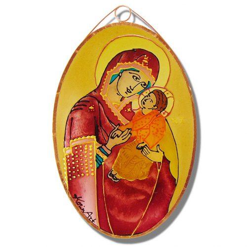Mária gyermekével üvegfestmény