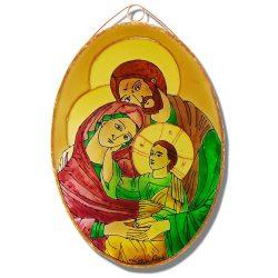 Szent Család üvegfestmény, ikonkép