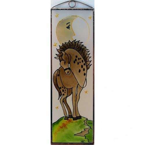 Pferd im Mondschein Glasbild, Glasmalerei