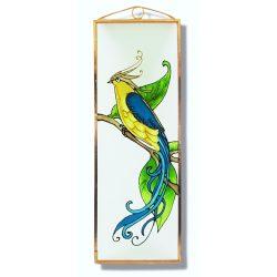 Blauer Vogel des Glücks, Paradiesvogel Glasbild