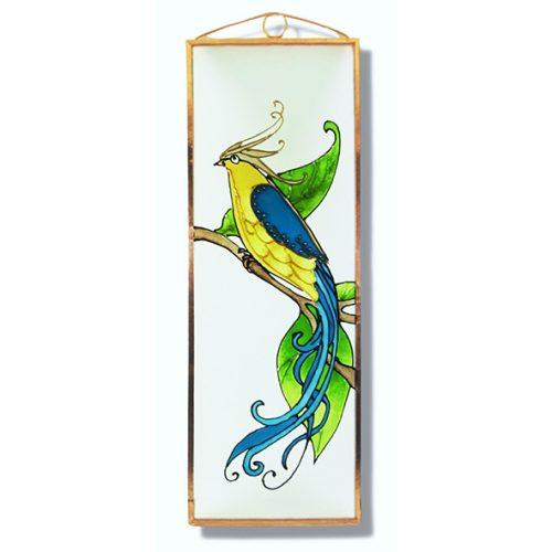 Boldogság kék madara, Paradicsommadár üvegkép, üvegfestmény