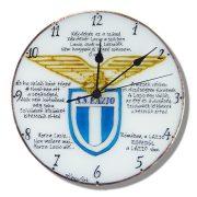 Lazio futballcsapat címerével egyedi falióra, kézi festésű üvegóra