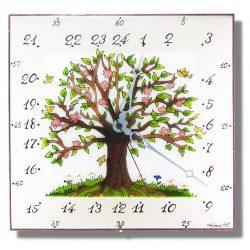 Virágos Életfa - 24 órás egyedi falióra
