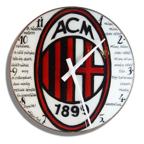 AC Milán futballcsapat címerével egyedi falióra, kézi festésű üvegóra