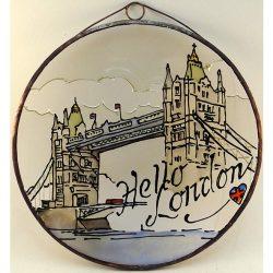 Hello London üvegkép, üvegfestmény