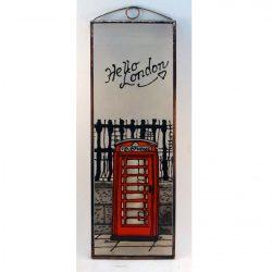 Piros telefonfülke London, Red telephone box in London üvegkép, üvegfestmény