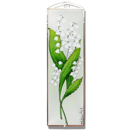 Gyöngyvirág üvegkép, üvegfestmény