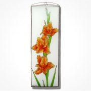 Kardvirág üvegkép, üvegfestmény