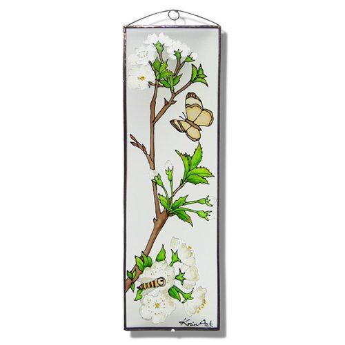 Virágzó tavaszi ág üvegkép, üvegfestmény