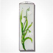 Hóvirág üvegkép, üvegfestmény
