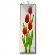 Tulipán üvegkép, üvegfestmény