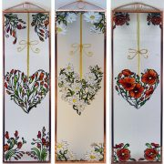 Mohn Herz Glasbilder, Glasmalerei