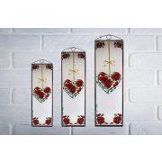 Frézia szíves üvegkép, üvegfestmény