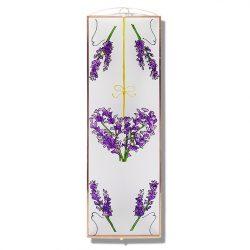 Lavendelherz 1 Glasbilder, Glasmalerei