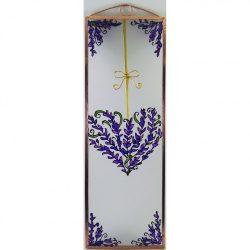 Lavendel Herz 2 Glasbilder, Glasmalerei