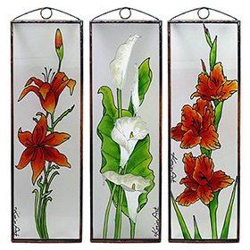 Virágos üvegkép, üvegfestmény